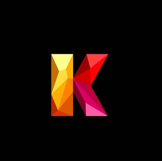 3d letra k baixo poli logo vector