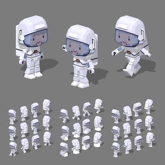 3d lowpoly astronauta isométrica