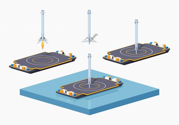 3d lowpoly barcaça de espaço de pouso isométrico