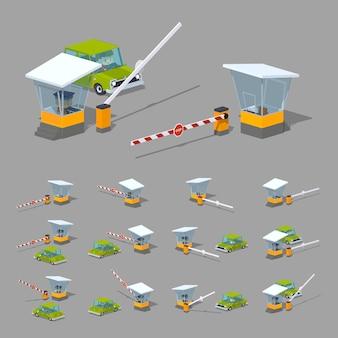 3d lowpoly barreira isométrica, cabine e carro verde