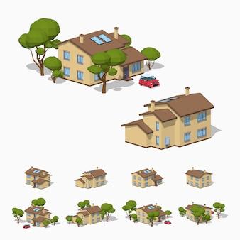 3d lowpoly casa suburbana isométrica