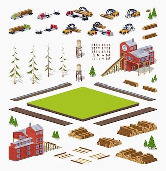 3d lowpoly conjunto de construção de moinho de madeira isométrica