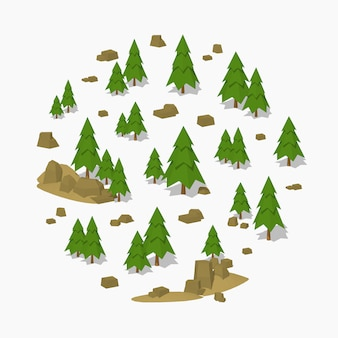 3d lowpoly isométrica floresta de pinheiros