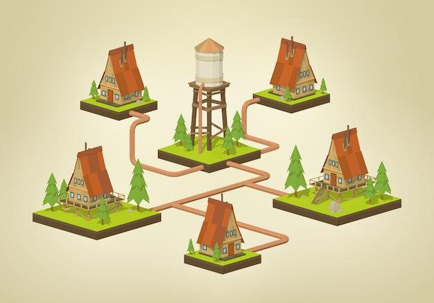 3d lowpoly isométrica infográficos de abastecimento de água