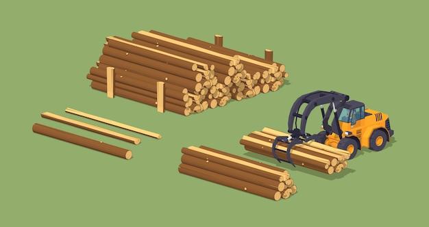 3d lowpoly log loader isométrico e as pilhas de log