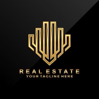 3d, luxo, design de logotipo imobiliário moderno