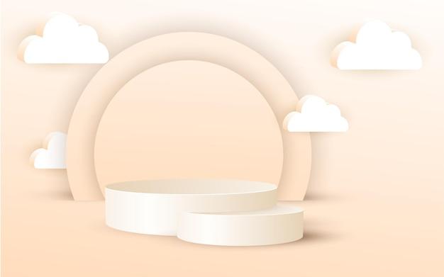 3d luxo pódio com nuvem