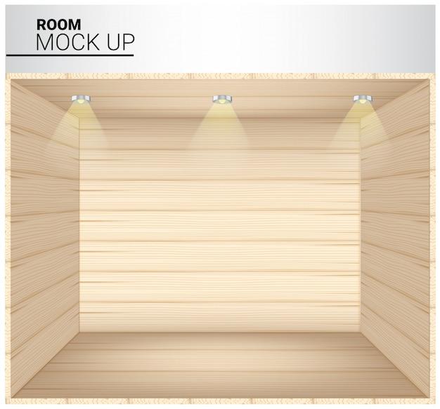 3d mock up do quarto vazio de madeira realista