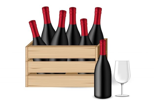 3d mock up realista garrafa de vinho, vidro e caixa de madeira