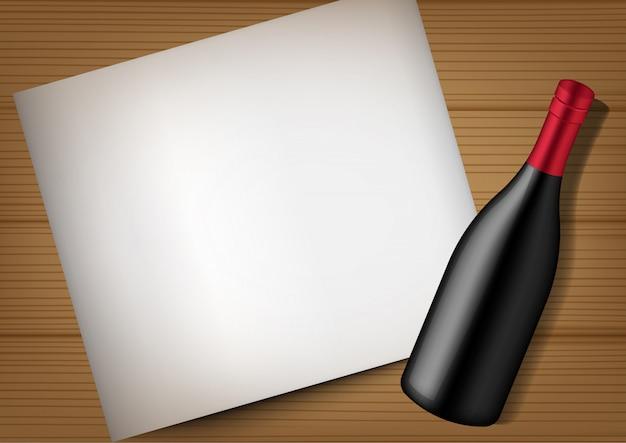 3d mock up realista garrafa de vinho