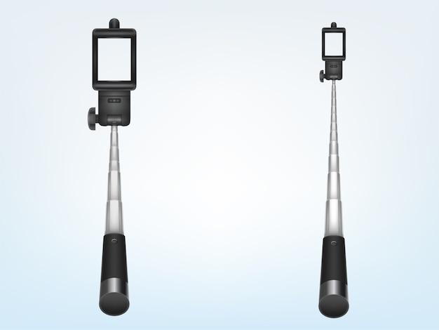 3d monopé telescópico realista para smartphone, identificador de dobramento. suporte do telefone para foto, selfi