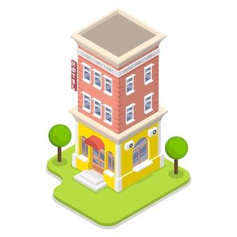 3d plano isométrico conceito de hotel.