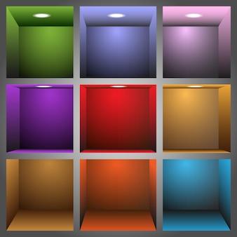 3d prateleiras coloridas