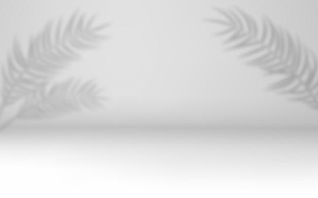 3d quarto vazio branco com efeitos de sombra transparentes. sombras transparentes de folha de palmeira, folhas. estilo mínimo.
