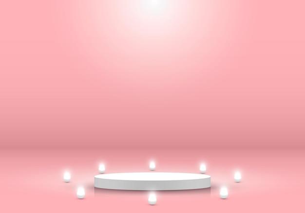 3d realista cilindro branco pódio pedestal plataforma de exibição de produto fundo de cena mínimo
