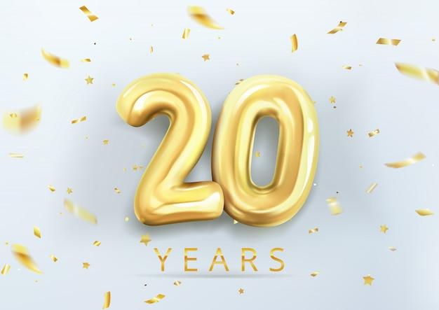 3d realista isolado com número vinte, 20, balões de hélio ouro para seu projeto decoração, festa, aniversário, anúncios