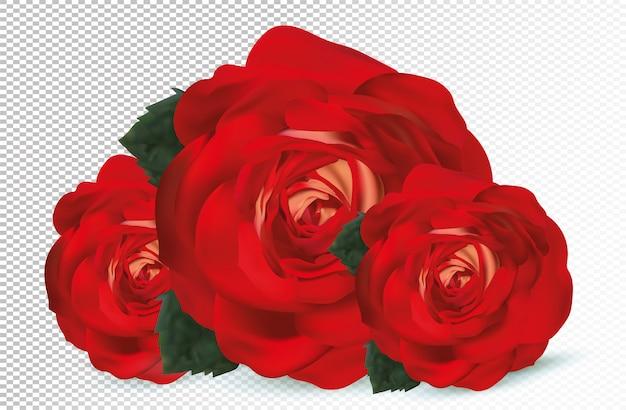 3d realista rosa vermelha com folhas verdes