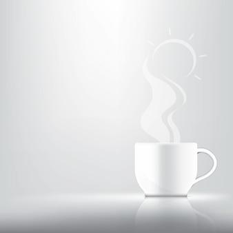 3d realista uma xícara de café, chá ou leite quente