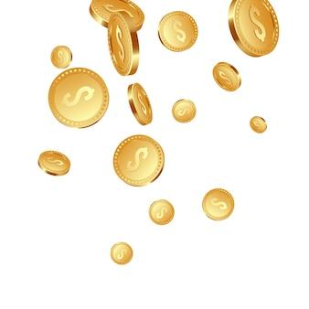 3d realistas caindo moedas metálicas douradas, cifrão.