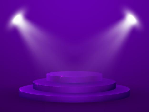 3d rendem do pódio. estúdio com pedestal redondo e espaço.