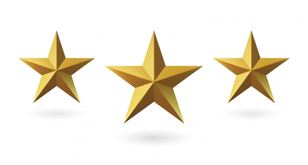 3d rendem, estrela isolada do ouro em um fundo branco. emblema dourada da vitória. símbolo de melhor e vencedor. conceito de classificação para vários lugares.