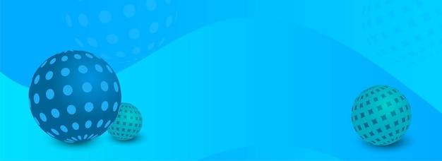 3d render bolas ou esfera decorada em fundo azul brilhante com espaço da cópia.