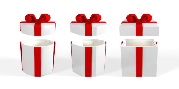 3d render e desenhar por caixa de presente realista de malha com arco. caixa de papel com sombra isolada no fundo branco. ilustração vetorial.