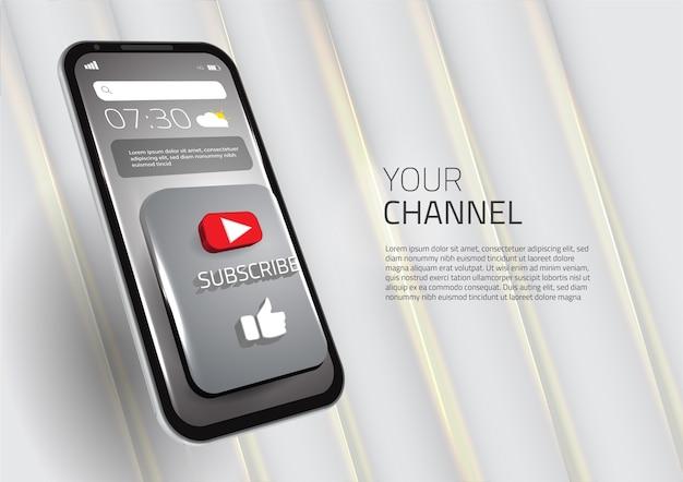 3d se inscrever como botão de mídia social para celular inteligente