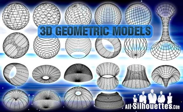 3d silhuetas geométricas modelos