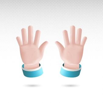3d sinal de cinco mãos estilo cartoon em fundo transparente vetor grátis
