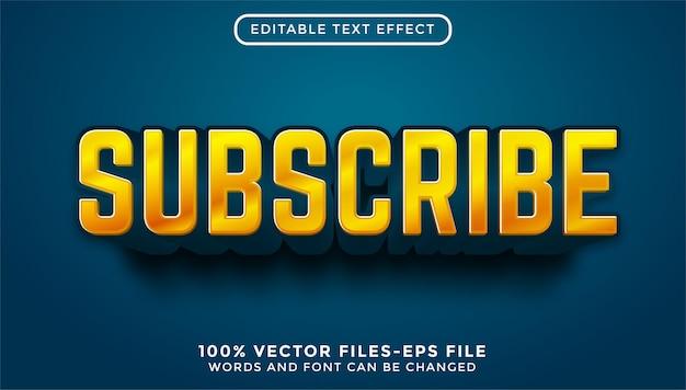 3d subscrever texto. vetores premium de efeitos de texto editáveis