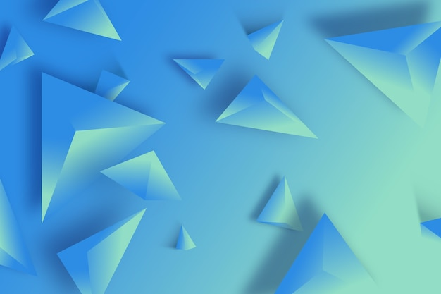 3d triângulo fundo azul monocromático