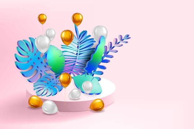 3d tropical deixa a cena pódio fundo botânico render vetor folhagem pedestal palco