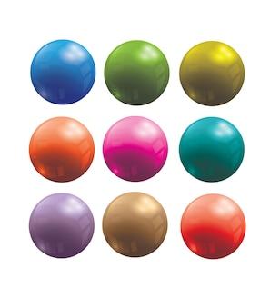 3d vector bolas de plástico - 9 tons de cores