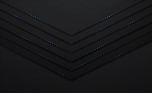 3d vector preto e linha de fundo quadrado com sombra