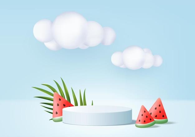 3d verão fundo exibição de produto cena de pódio com plataforma de nuvem fundo verão 3d render com sol sorvete melancia no pódio mostrar produto cosmético exposição azul estúdio
