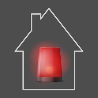 3d vermelho realista liga o pisca-pisca do policial. sirene de perto. ícone de guarda em casa. primeiro plano