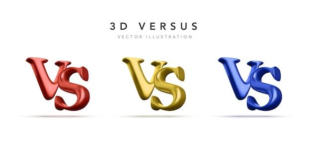 3d versus manchete de batalha. competições entre competidores, lutadores ou equipes. ilustração vetorial