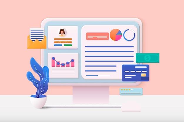 3d web ilustrações computador e login de conta e página de formulário de senha na tela login para conta usuário autorização login autenticação página conceito