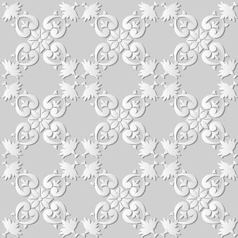 3d white paper art curve spiral check cross leaf frame flower, padrão de decoração elegante.