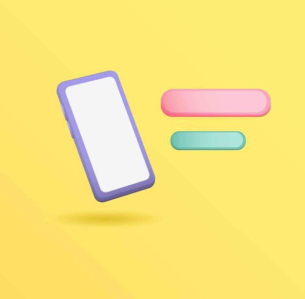 3dsmartphone com conceito de chat ballon editável realista