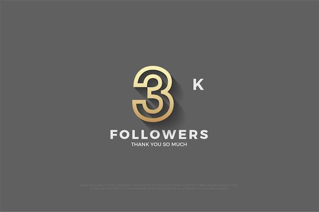 3k seguidor de fundo cinza com figura delineada em marrom