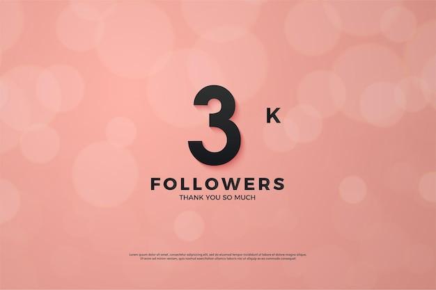 3k seguidor de fundo rosa com números