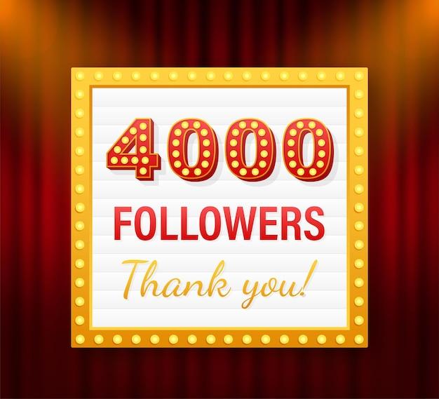 4.000 seguidores, obrigado, postagens em sites sociais. obrigado cartão de felicitações de seguidores. ilustração em vetor das ações.