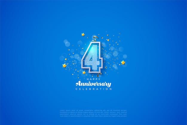 4º aniversário com ilustração de número listrado de borda branca grossa.
