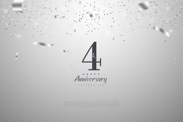 4º aniversário com números e ilustrações de fitas de prata caindo umas sobre as outras.