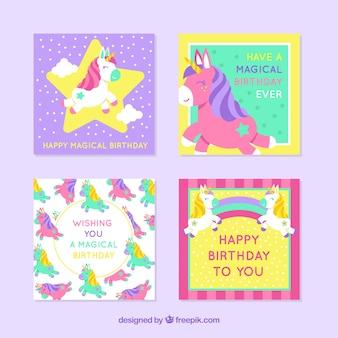 4 cartões de aniversário coloridos com unicórnios