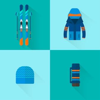 4 coleção de ícones do esporte de inverno. equipamento de esqui e snowboard definido em design de estilo simples. elementos para fotos de estação de esqui, atividades de montanha