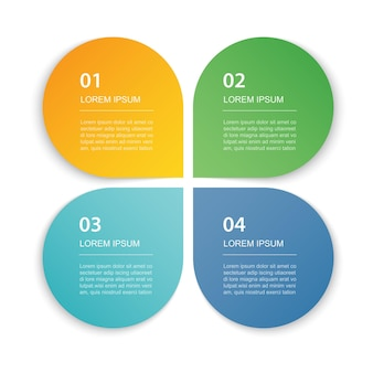 4 dados infográficos guia modelo de índice de papel ilustração fundo abstrato