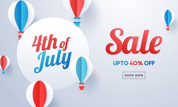 4 de bandeira de venda de julho